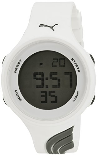 Puma Men's Women's Unisex White Gray Twist Digital LCD Sport Watch w/ Stopwatch