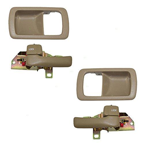 4 Piece Set of Inside Interior Beige Door Handles with Trim Bezel Replacement for Toyota 6927832050S4 6927732060S4 6920632071J0 6920532070W3 ()
