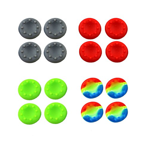 WELLSKEY 8 Pairs Thumb Grip Stick Cover For PS4 PS3 PS2 XBOX 360 ONE WII - Case Skin Joystick Controller - Pack of 16 pcs (4 Gray + 4 Red + 4 Green + 4 Multicolor) Set # 6