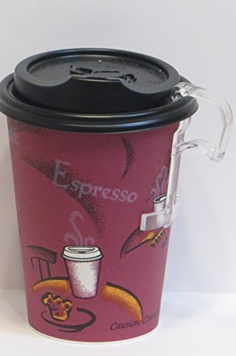 Bistro Design paper Hot Cups 12 oz. bistro 100 sets Coffee Cups with dome lid -plus 5 plastic clip on cup handles
