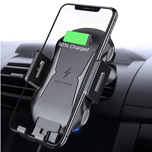 (Wireless Car Charger Mount, Automatic Clamping Fast Charging Car Phone Holder, Windshield Dashboard Air Vent 10W 7.5W Compatible with Apple, Android, Smartphones (All Qi-Enabled Devices) (Black))
