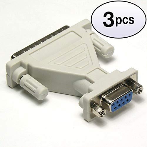 GOWOS (3 Pack) DB9-F/DB25-M Serial Adapter, Thumbscrew(DB25)/Nut(DB9) (Db9f Thumb Screws)