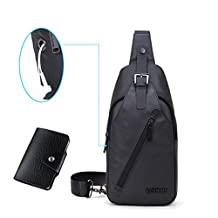 Men's Shoulder Bag,Nasion.V Sling Waterproof Chest Bag Anti-theft Crossbody Daypack for Travel Hiking Working School Business Cycling
