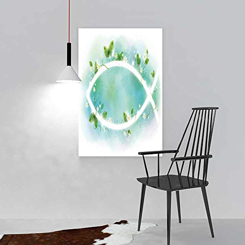aolankaili Modern Home Decor Framelessa Fish Sign with White Flowers on a Blue Background for The Kitchen, Dining Room, Living Room, bar and so on W44 x H64