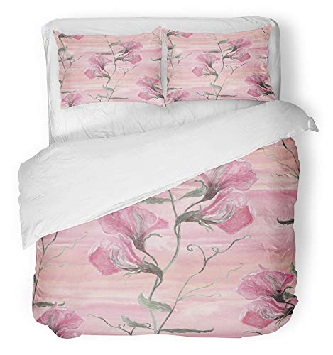 - Emvency 3 Piece Duvet Cover Set Breathable Brushed Microfiber Fabric Green Beautiful Watercolor with Sweet Pea Flowers on Pink Splash Wash Hand Grey Bedding Set with 2 Pillow Covers Twin Size