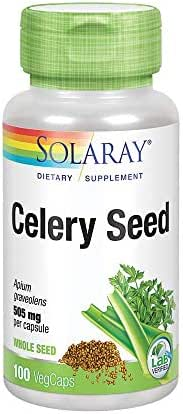 Solaray Celery Seed 505mg | Healthy Cardiovascular, Liver, Water Balance & Joint Support | Whole Seed w/Phytochemicals & Flavonoids | Non-GMO | 100ct