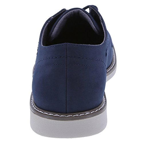 Dx Mens Burt Plain-toe Oxford Navy In Pelle Scamosciata