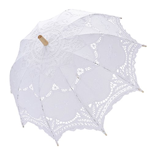 Tinksky Lace Umbrella Parasol Romantic Wedding Umbrella Photograph (White) for $<!--$25.98-->