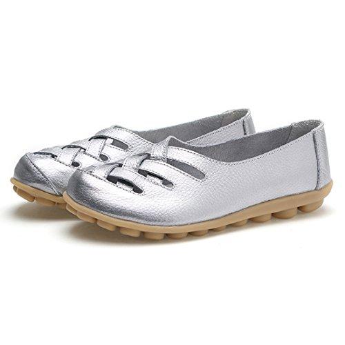O Flats Voiture Bateau En L'argent Sandales Chaussures Ons N Et Glisser Occasionnels Femmes Dames Découpées Mocassins rw0rxfTq7