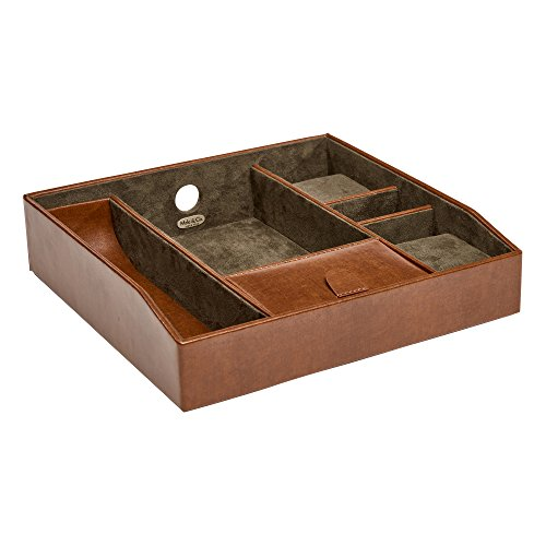 Mele & Co. Finley Men's Dresser Top Valet in Cognac Faux Leather