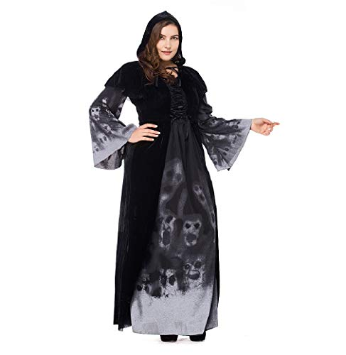 BTChoice Women's Skull Printed Plus-Size Black Witch Dress Halloween Party Costume -