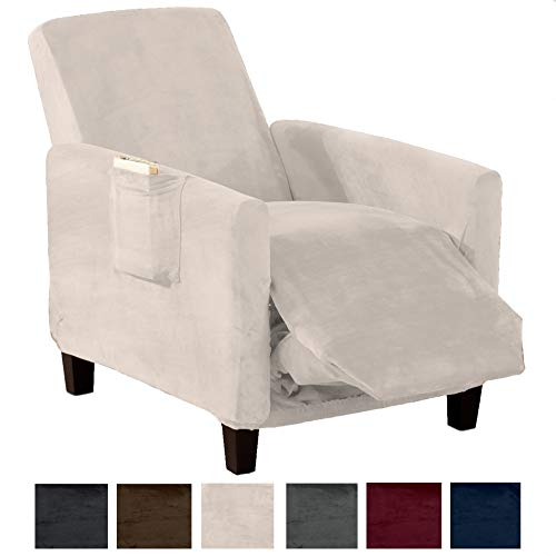 Great Bay Home Modern Velvet Plush Strapless Slipcover. Form Fit Stretch, Stylish Furniture Cover/Protector. Gale Collection Brand. (Recliner, Silver Cloud)