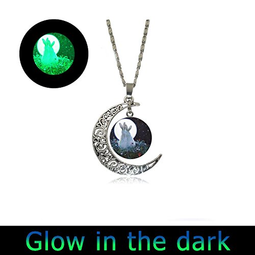 Glowlala glowing full moon necklace Rabbit Necklace Full Moon Jewelry I Love You to the Moon and Back Art Pendant in Silver with Link Chain Included ()