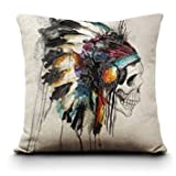 Decorative Pillow Cover - CoolDream New Printing Cushion Cover Watercolor Skull Headdress Pillow Cover Sofa Cover Decorative Pillows-American Indian