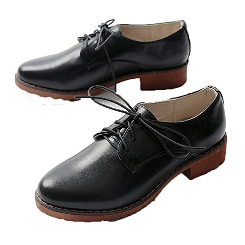 Oxford Treaded Womens Blocked Heel Black MINIVOG Loafers vqdIOnqU