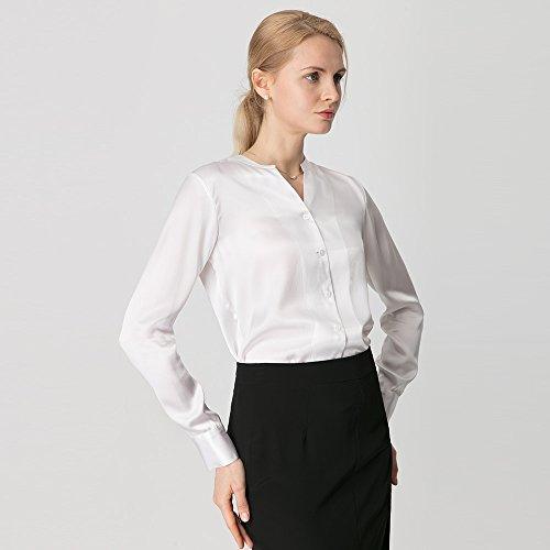 Coupe Manche Boutonn Soie Chemise LILYSILK Longue Blanc Basique Top Vritable 22MM Slim Femme Chemisier 0xqREnnw8