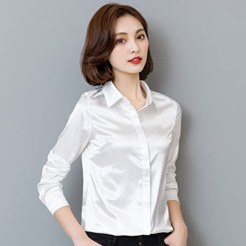 XXIN La Camisa Blanca Hembra Suelta Carrera Long-Sleeved ...