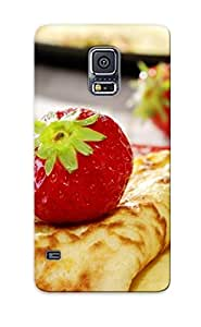 Special Storydnrmue Skin Case Cover For Galaxy S5, Popular Pancake Strawberry Plate Food Phone Case For New Year's Day's Gift