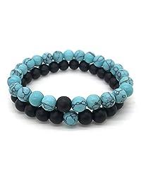 stoyuan 2 Pcs/Set Black Blue Couple Distance Bracelet Charms Yoga Meditation Braclet for Men Women Lovers