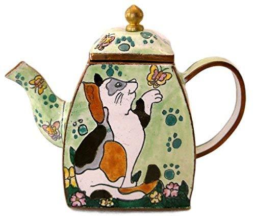 Spoontiques Calico Cat & Butterfly Enamel Decorative Miniature Enamel Teapot