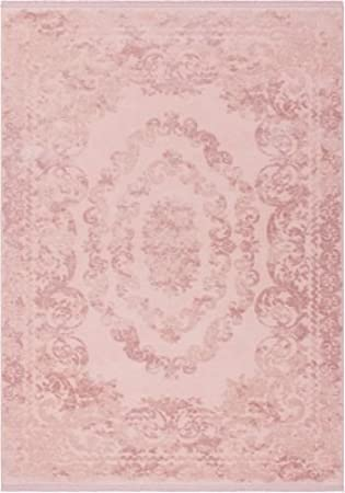 Pink Floral Rug For Living Pattern Embossed 3d Effect Rose
