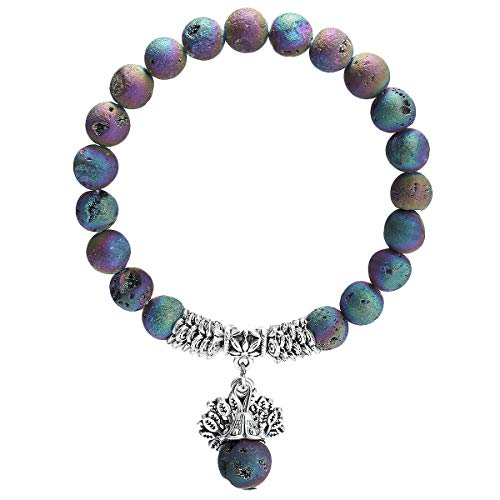 (TUMBEELLUWA Beads Bracelets Semi Precious Stone Yoga Beads Healing Crystals Tree of Life Charm Chakra Bracelet Handmade Jewelry for Women,Rainbow Titanium Coated Druzy)