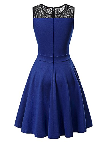 KIRA Women's Sleeveless A-Line Evening Party Lace Cocktail Dress (X-Large, Royal Blue With Black Floral Lace)