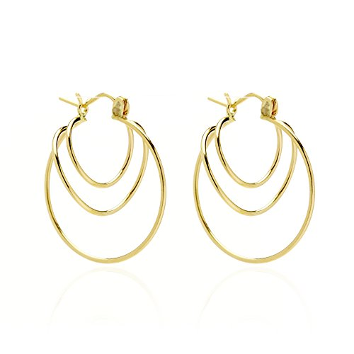 14k Yellow Gold Twisted Loops Hoop Earring with Gift Box for Women and Teen Girls by SL Gold Imports
