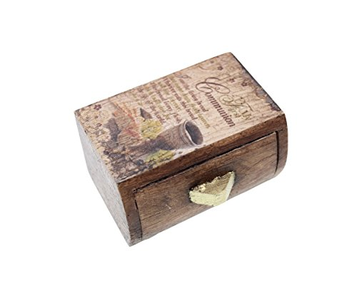 First Communion Vintage Style Rustic Wood Rosary Keepsake Box