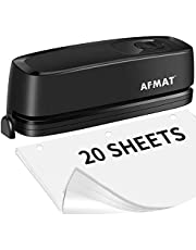 3 Hole Punch, AFMAT Electric Three Hole Punch Heavy Duty, 20-Sheet Punch Capacity, AC or Battery Operated Paper Puncher, Effortless Punching, Long Lasting Paper Punch for Office School Studio, Black