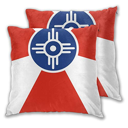 AW-KOCP 2 Packs Flag of Wichita Kansas Decorative Throw Pillow Covers for Sofa Bedroom Decor, Many Pattern & Size Options ()