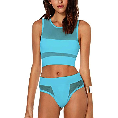 Zmart Women High Waisted Sexy Sheer Bikini Swimsuit Sets Two Pieces,Blue,S(US 4-6)