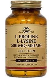 Solgar L-Proline/-Lysine Tablets, 500 mg, 90 Count