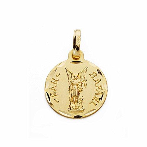 Médaille pendentif San Rafael de l'or 14mm 18k. sculpté sculptée [AA2661GR] - personnalisable - ENREGISTREMENT inclus dans le prix