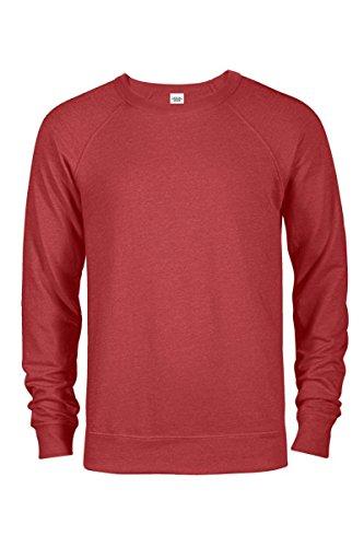 Raglan Crew Sweatshirt - Casual Garb Men's Crew Neck Sweatshirts French Terry Crewneck Sweatshirt Men Red Heather Large