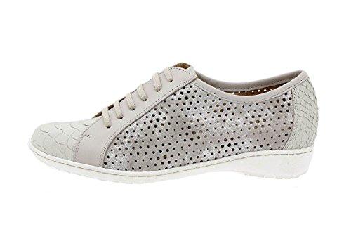 Calzado mujer confort de piel Piesanto 1752 Zapato Cordón cómodo ancho Mamba Perla