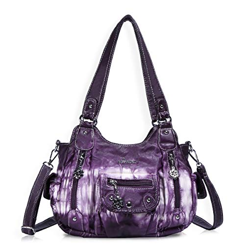 Pocket Large Hobo Handbag - Angel Barcelo Fashion Hobo Womens Soft Leather Top-handle Bag Handbags and Purses Casual Shoulder Bag Purple