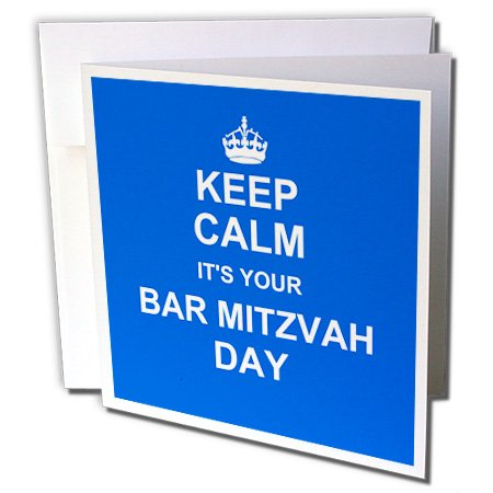 3dRose Keep Calm its your Bar Mitzvah day - Good luck Encouraging Boys Jewish 13th birthday - Greeting Cards, 6 x 6 inches, set of 6 ()
