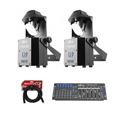 2) Chauvet DJ Intimidator Scan 305 IRC LED Mirror Scanners+Controller+DMX Cables by Chauvet