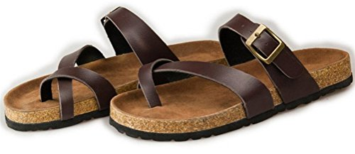 Womens Ladies Flat Soft Wood Sole Footed Keen Slippers Athletic Sandals Plus Size Brown rLJaZrgd