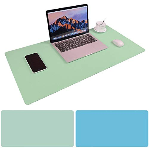 Large Desk Pad Mouse Pad, Aisakoc 35.4x15.75 Inches Non-Slip PU Leather Desk Mouse Mat Waterproof Desk Pad Protector Gaming Writing Mat for Office Home Desks (Mint green and Sky blue)