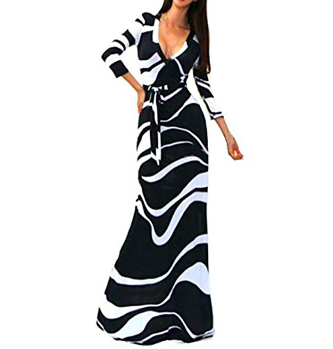 NEARTIME Women Dress, Striped V Neck Wrap Waist Long Maxi Dress (Cashmere Mini Dress Black)