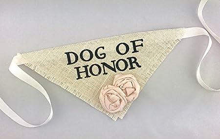 Hello Hazel Company Dog of Honor Wedding Pet Bandana with Blush Satin Flower