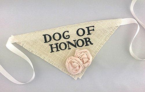 Pet Attire Bandana - Hello Hazel Company Dog of Honor Wedding Pet Bandana with Blush Flowers