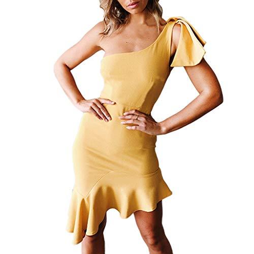 Cenglings Women Sexy Ruffles One Shoulder Sleeveless Off Shoulder Mini Dress Flounce Club Cocktail Dresses -