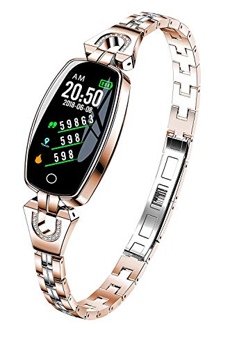 i-Vivian H8 Smart Watch -Fitness Tracker with Heart Rate & Blood Pressure & Sleep Monitor for iOS & Android, Waterproof Ladies Jewelry Health Tracker with IPS Screen for Women Girls (Golden)