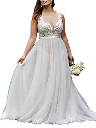 Ri Yun Women\'s Plus Size Wedding Dresses Bridal Ball Gown Sheer V-Neck  Tulle Wedding Dresses for Bride 2019 with Sweep Train
