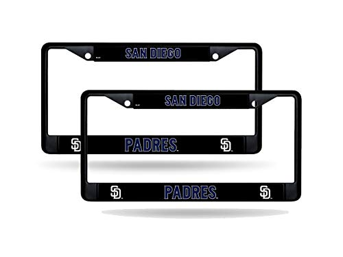 Rico San Diego Padres MLB Black Metal (Set of 2) License Plate Frames