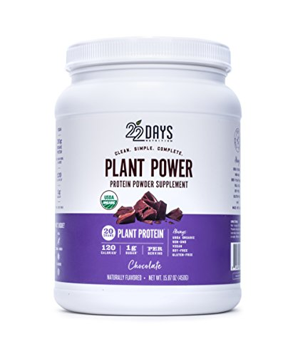 22 Days Nutrition Organic Protein Powder, Chocolate, 15.87 Ounce | Gluten Free, Vegan- Pea, Flax, and Sacha Inchi- Plant Based Protein Powder (20g) - No Added Sugar, Naturally Sweetened with Stevia