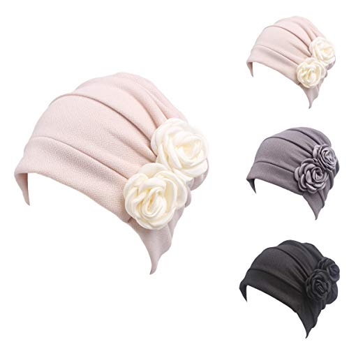 (Ever Fairy 3 Colors Chemo Cancer Head Scarf Hat Cap Ethnic Cloth Print Turban Headwear Women Stretch Flower Muslim Headscarf (3 Colors Back-H1))